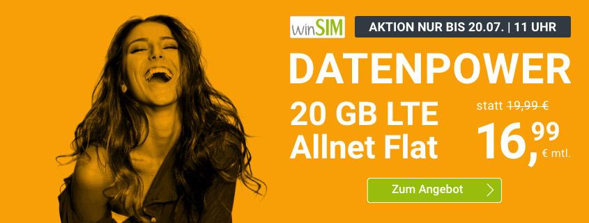 winSIM Top Deal - 20 GB LTE Flat für 16,99 €/mtl.