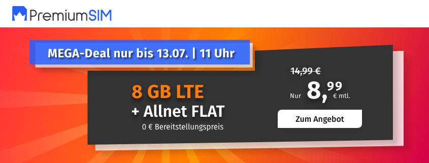 PremiumSIM bietet 8 GB LTE Allnet Flat für 8,99 €/mtl.