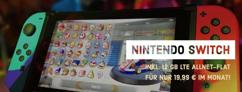 Nintendo Switch + 12 GB LTE Allnet-Flat Tarif für 19,99 €/mtl.