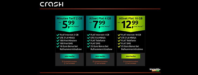 crash Tarifüberblick - Vodafone Allnet Flat schon ab 5,99 €/mtl.