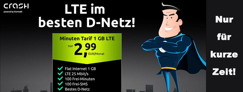 Top-Deal bei Crash - Telekom LTE Smartphone Flat für 2,99 €