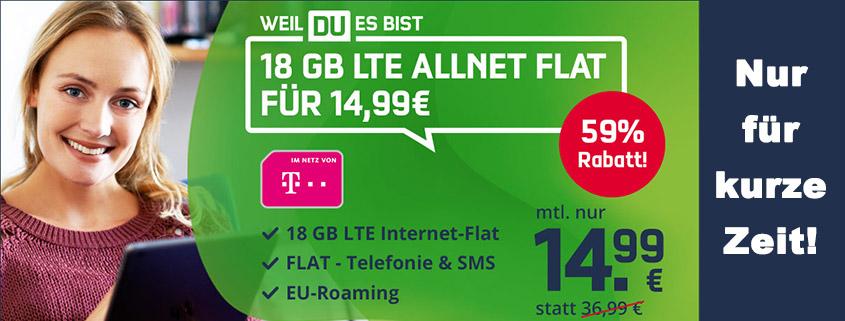 Top-Angebot: 18 GB Telekom LTE Allnet-Flat für nur 14,99 € im Monat