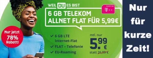 Mega-Deal: 6 GB Telekom LTE Allnet-Flat für nur 5,99 € im Monat