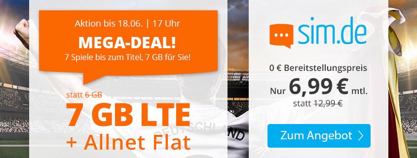 sim.de startet 7 GB LTE Allnet Flat (Aktionstarif) nur für kurze Zeit
