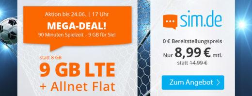 Mega Deal - sim.de bietet 9 GB LTE Flat für 8,99 €/mtl. an