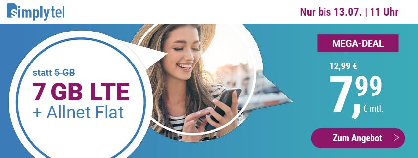 simply bietet 7 GB LTE Flat für 7,99 € pro Monat