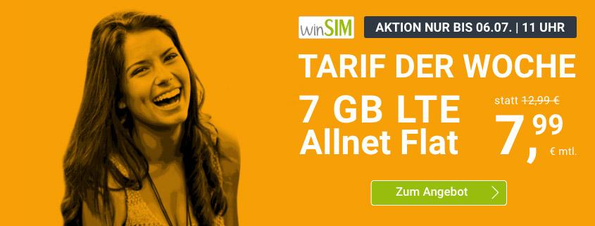 winsim LTE All 7 GB Aktionstarif für nur 7,99 € im Monat