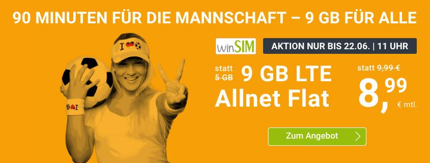 winSIM Special Tarif - LTE All 9 GB Tarif für nur 8,99 €