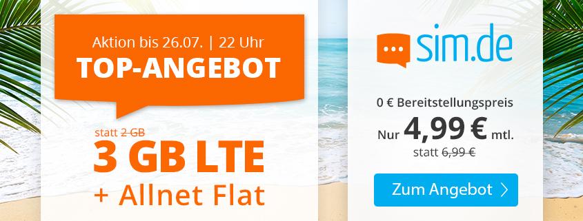 Special bei sim.de - 3 GB LTE Allnet-Flat für nur 4,99 €/mtl.