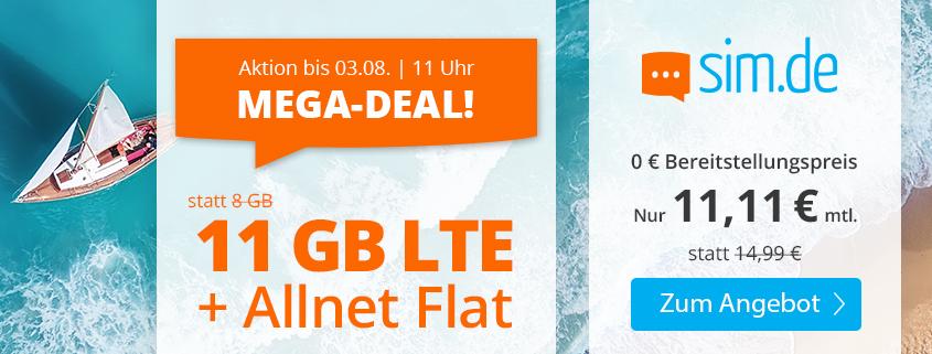 Top-Aktion - 11 GB LTE Tarif für 11,11 €bei sim.de