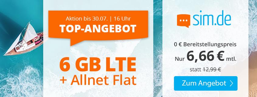 Mega Deal - sim.de bietet 6 GB LTE Flat für 6,66 €/mtl. an