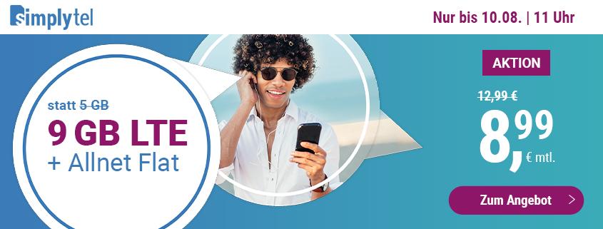 simply bietet 9 GB LTE Flat für 8,99 € pro Monat
