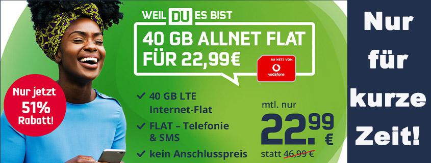 Datenpower im Vodafone-Netz - 40 GB Vodafone Allnet-Flat für nur 22,99 €/mtl.