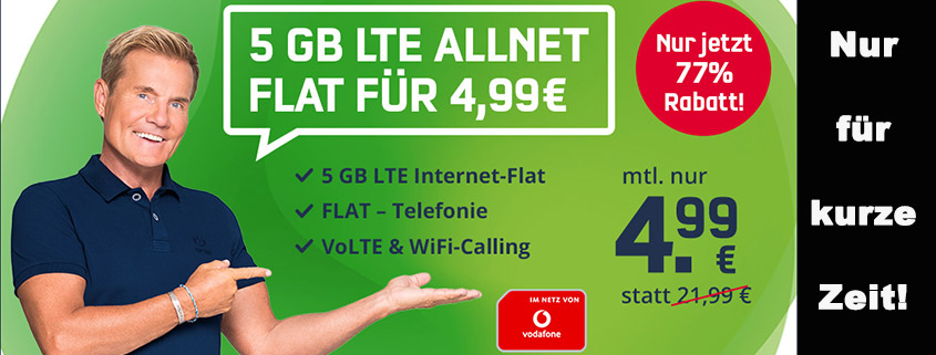 Mega-Angebot - 5 GB Vodafone LTE Tarif für nur 4,99 € im Monat