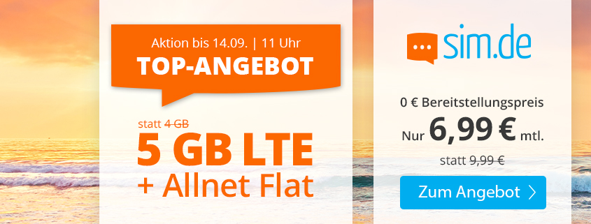 Special bei sim.de - 5 GB LTE Allnet-Flat für nur 6,99 €/mtl.