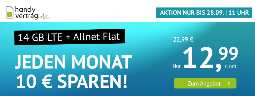 handyvertrag.de Aktionstarif: 14 GB LTE Flat für 12,99 €/mtl.