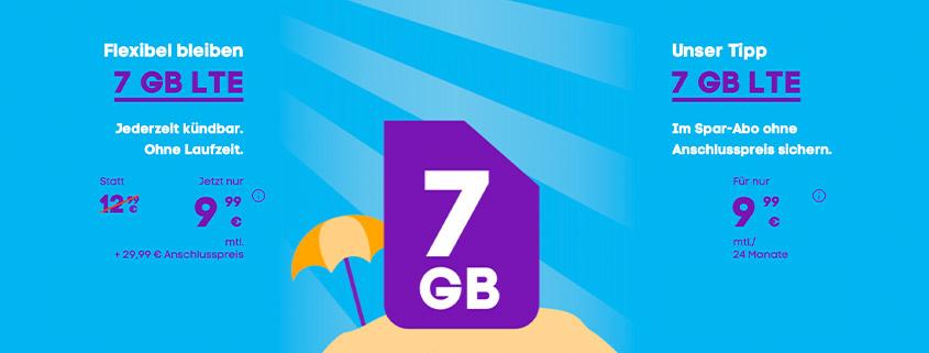 Blau Tarifaktion - 7 GB LTE Allnet-Flat für 9,99 € monatlich