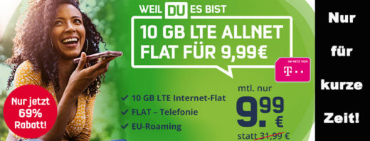 Mega-Angebot: 10 GB Telekom LTE Allnet-Flat für nur 9,99 € im Monat
