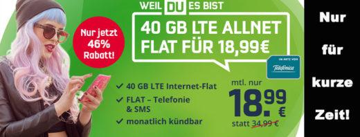 Monatlich kündbare 40 GB LTE Allnet-Flat für nur 18,99 € im Monat