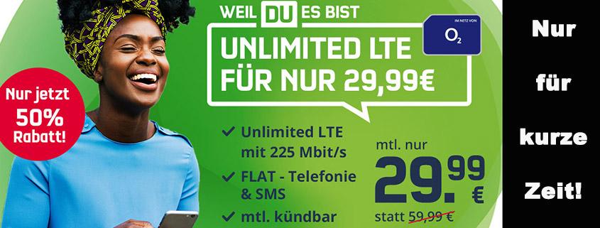 o2 Unlimited - Unbegrenzt mit LTE Max. Surfen für nur 29,99 €/mtl.