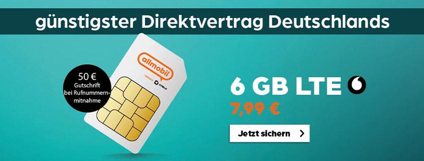 6 GB Vodafone LTE Allnet-Flat für 7,99 €im Monat