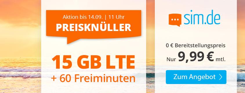 Top-Aktion - 15 GB LTE Tarif für 9,99 €bei sim.de