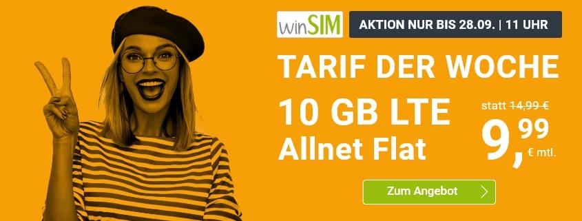 winSIM Special Tarif - LTE All 10 GB Tarif für nur 9,99 €