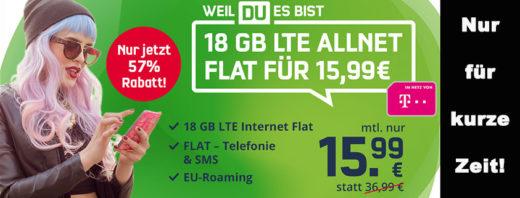 Mega-Angebot: 18 GB Telekom LTE Allnet-Flat für nur 15,99 € im Monat