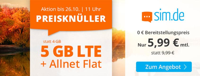 Special bei sim.de - 5 GB LTE Allnet-Flat für nur 5,99 €/mtl.