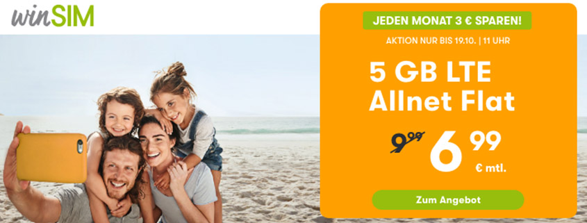 winSIM Top Deal - 5 GB LTE Flat für 6,99 €/mtl.