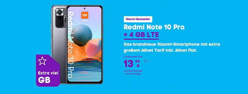 Xiaomi Redmi Note 10 Pro + 4 GB LTE Flat für 13,99 €im Monat
